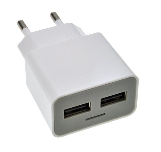 Solight USB nabíjací adaptér, 2x USB, 2400mA max., AC 230V, bielosivý