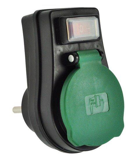 Solight zásuvka priebežná IP44, 16A, čierna, vypínač, krytka zásuvky