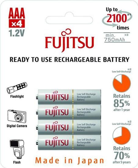 Fujitsu prednabité batérie R03/AAA, 2100 nabíjacích cyklov, blister 4ks