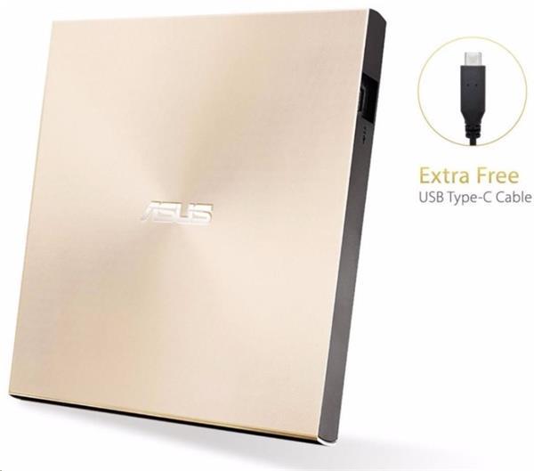 ASUS ZenDrive External Slim DVD-RW, M-DISC, USB-A/C, Retail, zlatá + Bitdefender