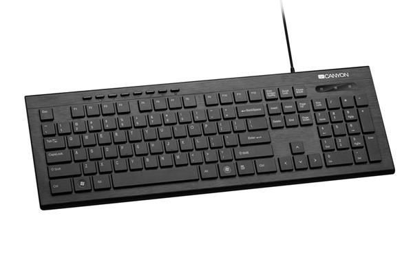 Canyon CNS-HKB2-CS drôtová klávesnica, USB, multimediálne funkcie, 105 klávesov, podsvietené, štíhla, čierna, SK/CZ