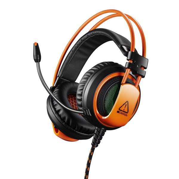Canyon Corax CND-SGHS5, hráčsky headset ktorý vtiahne do hry, oranžovo čierny