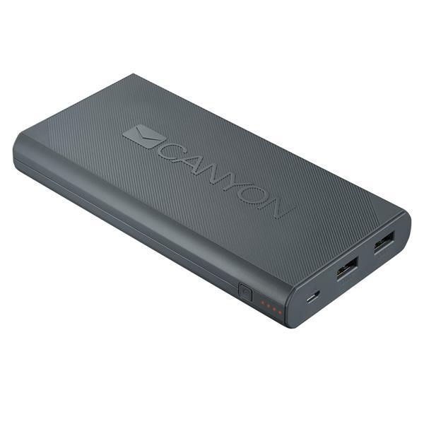 Canyon CNE-CPBF160DG Powerbank 16.000 mAh, výstup 2 x USB 5V/max 2,4A, pre smartfóny a tablety, tmavo šedá