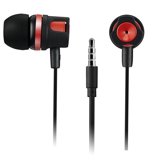 Canyon CNE-CEP3R pohodlné slúchadlá do uší, pre smartfóny, integr. mikrofón a ovládanie, čierne + červené prvky