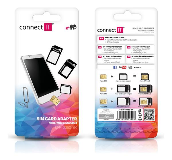 CONNECT IT nano a micro SIM adapter čierny