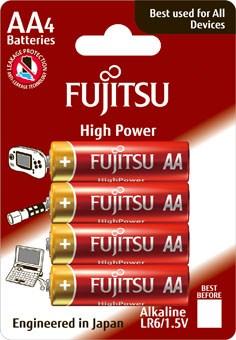 Fujitsu High Power alkalická batéria LR06/AA, blister 4ks