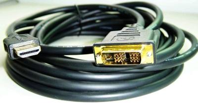 kábel HDMI-DVI 1,8m, M/M tienený, verzia 2.0, pozlátené kontakty, čierny