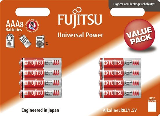 Fujitsu Universal Power alkalická batéria LR03/AAA, blister 8ks