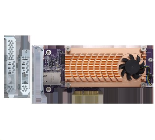 Qnap QM2: M.2 SSD PCIe Expansion Card Dual M.2 PCIe SSD slots, single 10GBASE-T 10GbE low-profile PCIeX4 adapter