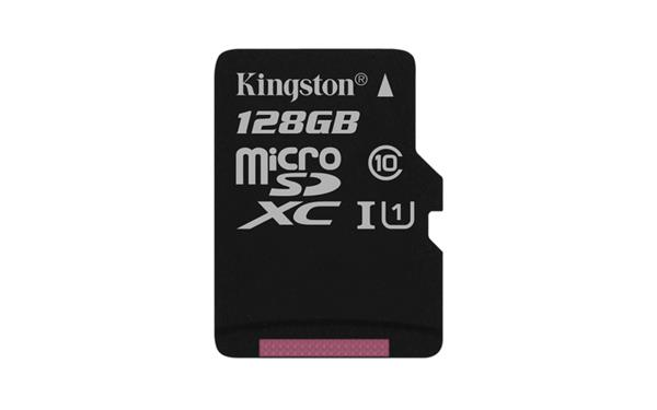 128 GB . microSDXC karta Kingston Class 10 UHS-I (r80MB/s, w10MB/s) bez adaptéra