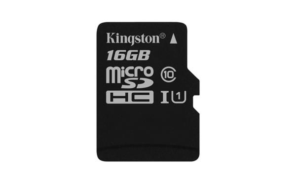 16 GB . microSDHC karta Kingston Canvas Select Class 10 UHS-I (r80MB/s, w10MB/s) bez adaptéra