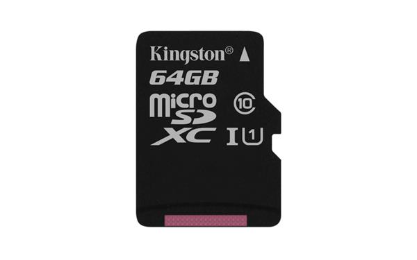 64 GB . microSDXC karta Kingston Canvas Select Class 10 UHS-I (r80MB/s, w10MB/s) bez adaptéra