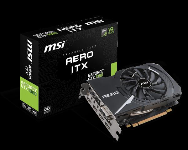 MSI GeForce GTX 1060 AERO ITX 6G OC 6GB GDDR5, 2x DP, 2xHDMI, DVI