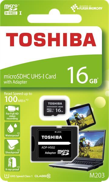 16 GB . microSDHC karta Toshiba Class 10 UHS + adaptér