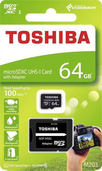 64 GB . microSDHC karta Toshiba Class 10 UHS + adaptér