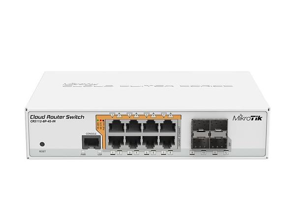 MIKROTIK RouterBOARD Cloud Router Switch CRS112-8P-4S-IN (400MHz; 128MB RAM; 8x GLAN POE/POE+; 4x SFP)