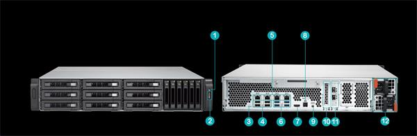 QNAP™ TVS-EC1580MU-SAS-RP-8GE-R2 16 Bay NAS, Intel Xeon E3- 3.5Ghz 8GB DDR3L RAM,2x10Gb+ 4x1Giga LAN