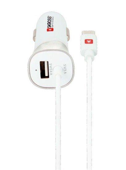 SKROSS USB Car Charger & Type-C nabíjací autoadaptér, integrovaný kábel + 1x USB výstup naviac, 5400mA max.