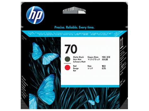 HP No 70 Ink Cart/Matte Black+Red Printh
