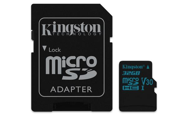 32 GB . microSDXC karta Kingston Canvas Go Class U3 UHS-I V30 (r90MB/s, w45MB/s) + adaptér