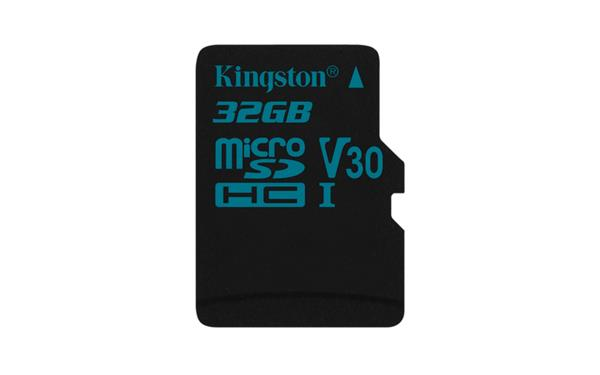 32 GB . microSDXC karta Kingston Canvas Go Class U3 UHS-I V30 (r90MB/s, w45MB/s) bez adaptéra