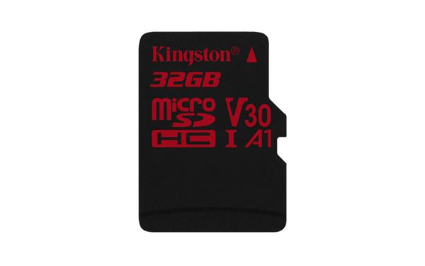32 GB . microSDXC karta Kingston Canvas React Class U3 UHS-I V30 A1 (r100MB/s, w80MB/s) bez adaptéra