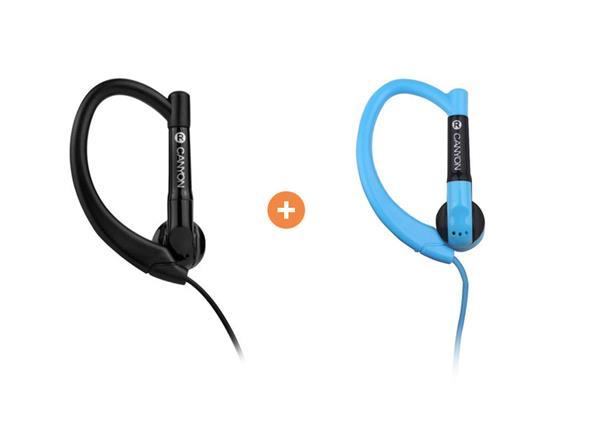 Canyon CNS-SEP1B slúchadlá do uší pre športovcov, integrovaný mikrofón a ovládanie, háčik za ucho, čierne