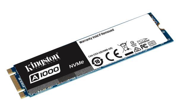 Kingston 960GB A1000 SSD PCIe Gen3 x2 NVMe M.2 2280 (6Gbps) ( r1500MB/s, w1000MB/s ) single sided