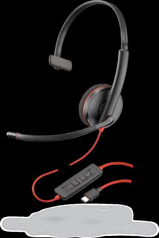 Plantronics BLACKWIRE C3210 USB-C, náhlavná súprava na jedno ucho so sponou