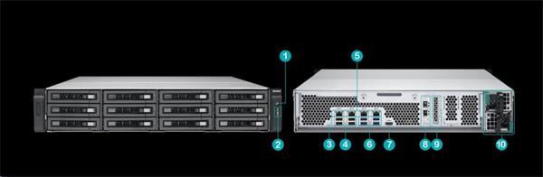 QNAP™ TVS-EC1280U-SAS-RP-16G-R2 12 Bay NAS, Intel Xeon E3- 3.5Ghz 16GB DDR3L RAM,2x10Gb+4x Giga LAN