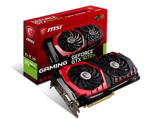 MSI GeForce GTX 1070 Ti GAMING 8G GDDR5, 3x DP, HDMI, DVI