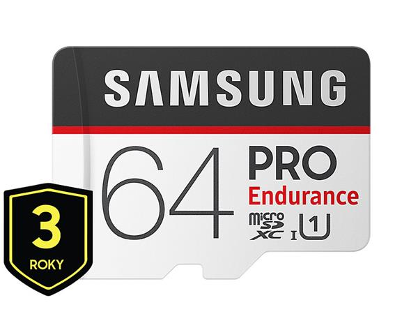 64 GB . microSDHC karta Samsung PRO Endurance + adaptér