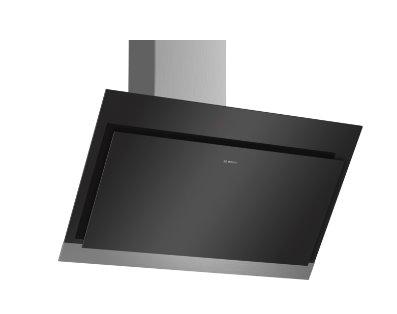 BOSCH_A, komínový odsávač pár, 90 cm, naklonený, čierny, sklenená doska, normálna prevádzka 420m3 / hod