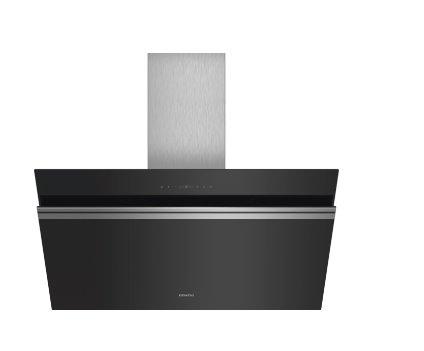 SIEMENS_A +, komínový odsávač pár, 90 cm, naklonený, čierny, sklenená doska, normálna prevádzka 530m3/ hod