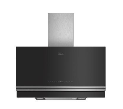 SIEMENS_A, komínový odsávač pár, 90 cm, plochý, čierny, Home Connect, cookConnect System, climateControl Sensor