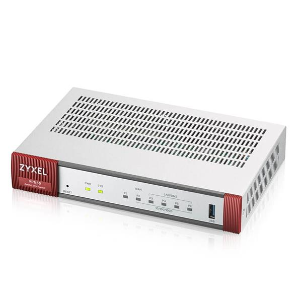 Zyxel VPN 50 Firewall Appliance 5 GE Copper/1 SFP, 800 Mbit/S Firewall Throughput, 50 Ipsec VPN Tunnels