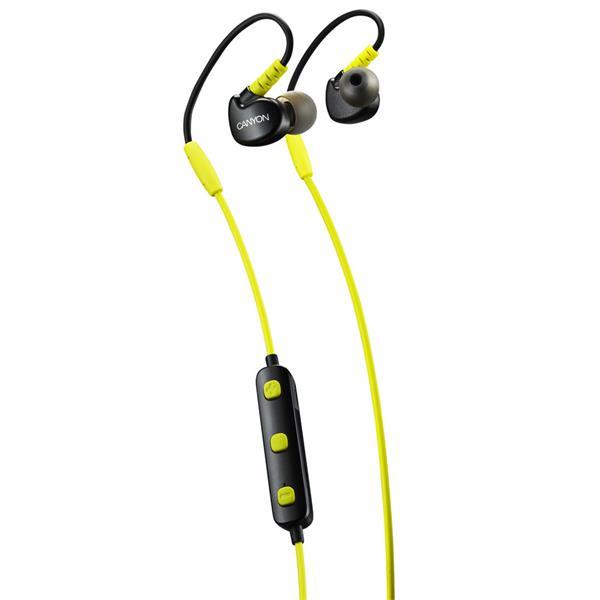 Canyon CNS-SBTHS1L Bluetooth slúchadlá do uší pre športovcov, integrovaný mikrofón a ovládanie, háčik za ucho, žlté