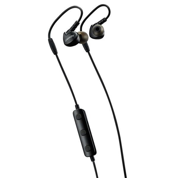 Canyon CNS-SBTHS1B Bluetooth slúchadlá do uší pre športovcov, integrovaný mikrofón a ovládanie, háčik za ucho, čierne