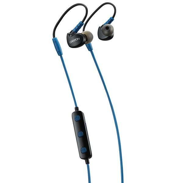 Canyon CNS-SBTHS1BL Bluetooth slúchadlá do uší pre športovcov, integrovaný mikrofón a ovládanie, háčik za ucho, modré
