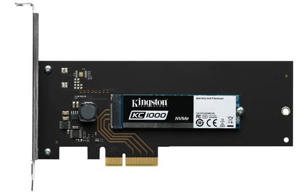 Kingston 480GB KC1000 SSD PCIe Gen3 x4 NVMe M.2 2280 (HHHL adapter) ( r2700MB/s, w1600MB/s )