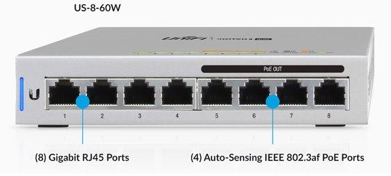 Ubiquiti US-8-60W 8x1000Mbps PoE (5pack)