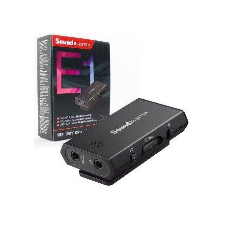 Creative Sound Blaster E1, zvuková karta, slúchadlový zosilňovač (SNR) 106 dB, externá