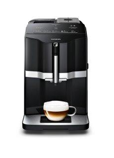 SIEMENS_15 bar, sensoFlow, coffeeDirect, keramický mlynček, čierny/strieborny