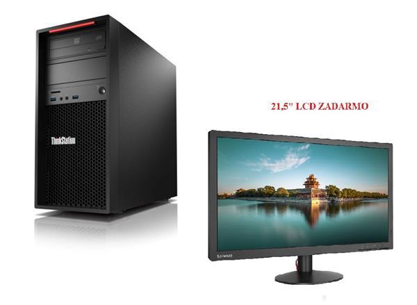 Lenovo TS P320 TWR i7-7700K 4.5GHz NVIDIA P600/2GB 8GB 256GB SSD DVD W10Pro cierny 3y OS