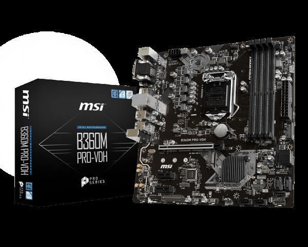 MSI B360M PRO-VDH/Socket 1151/DDR4/USB3.1/DVI-D/HDMI/mATX
