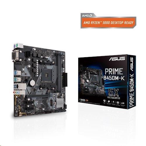 ASUS PRIME B450M-K soc.AM4 B450 DDR4 mATX M.2 D-Sub DVI