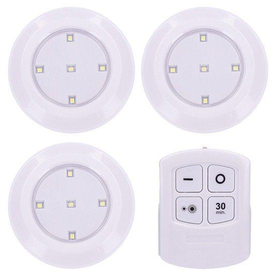Solight LED svetielka s diaľkovým ovládaním, 3x 50lm, časovač, batériové napájanie