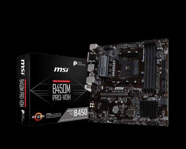 MSI B450M PRO-VDH/Socket AM4/DDR4/USB3.1/DSUB/DVI-D/HDMI/RAID/mATX