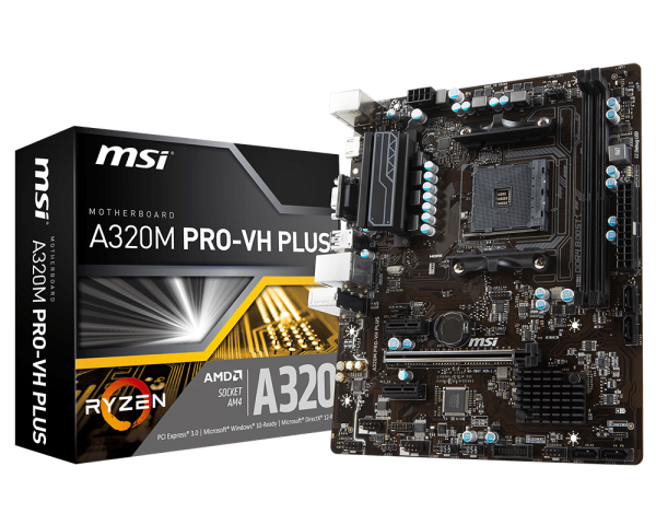 MSI A320M PRO-VH PLUS/Socket AM4/DDR4/USB3.1/DSUB/HDMI/8111H/RAID/mATX