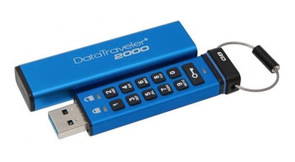 4 GB . USB 3.0 klúč . Kingston Keypad DT2000, 256bit AES Hardware Encrypted ( r80 MB/s, w12 MB/s )